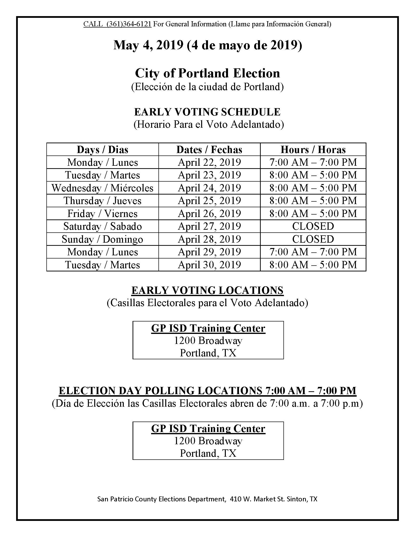 Early Voting and Election Day Schedule City of Portland