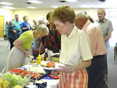 A group getting lunch at the Senior Center